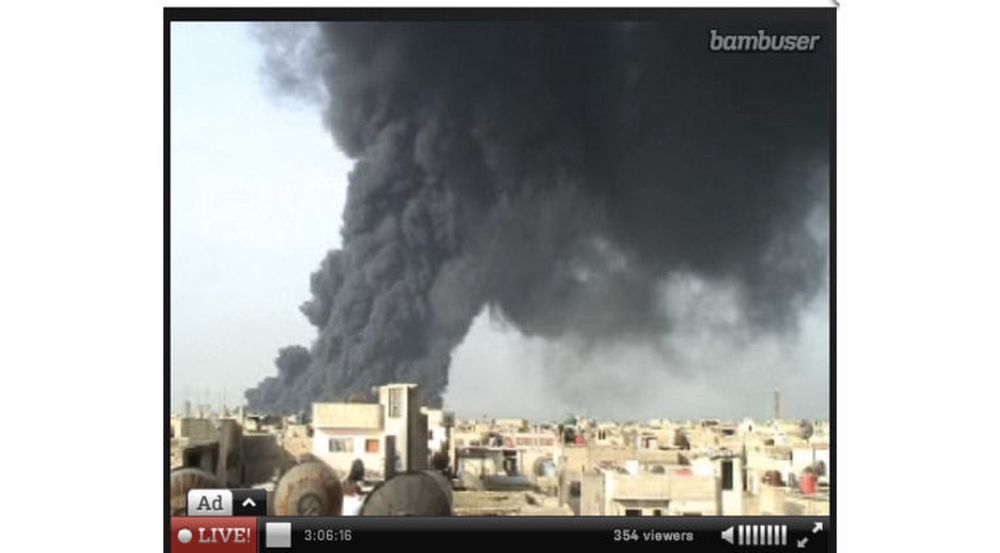 Bambuser lar folk strømme video direkte fra sine mobiltelefoner. Her fra en sekvens fra Damaskus i Syria.