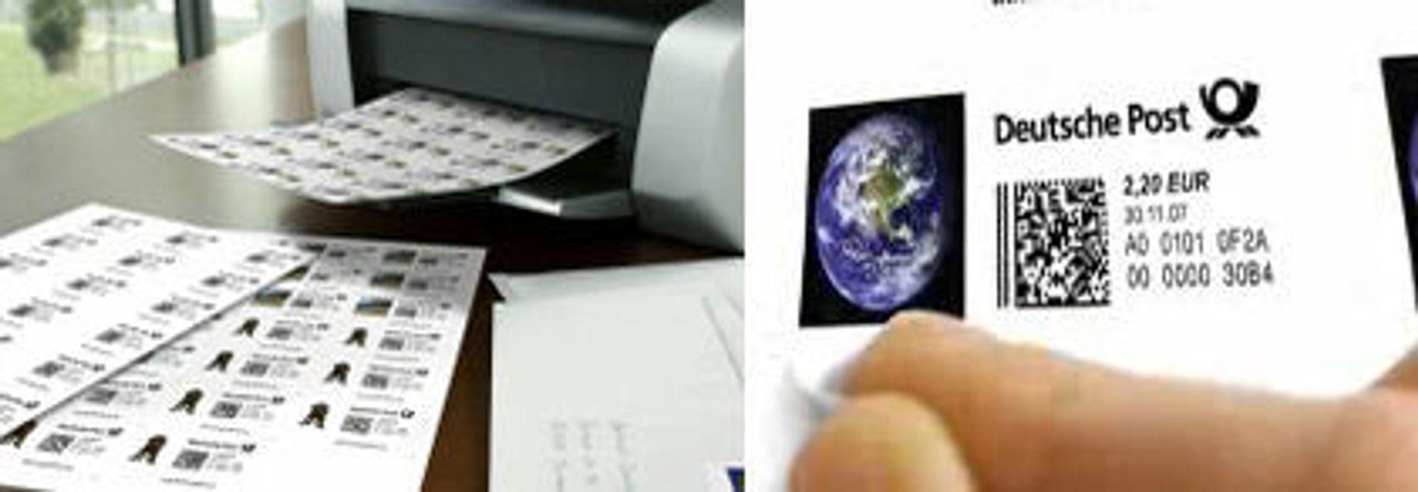 Skriv ut og klistre på frimerket.