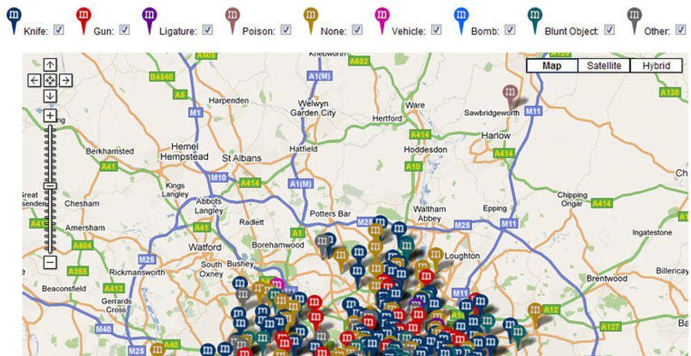 Hvilke sannheter eller konklusjoner som kan trekkes på bakgrunn av oversikten, er opp til brukerne av nettstedet, oppgir Murder Map.