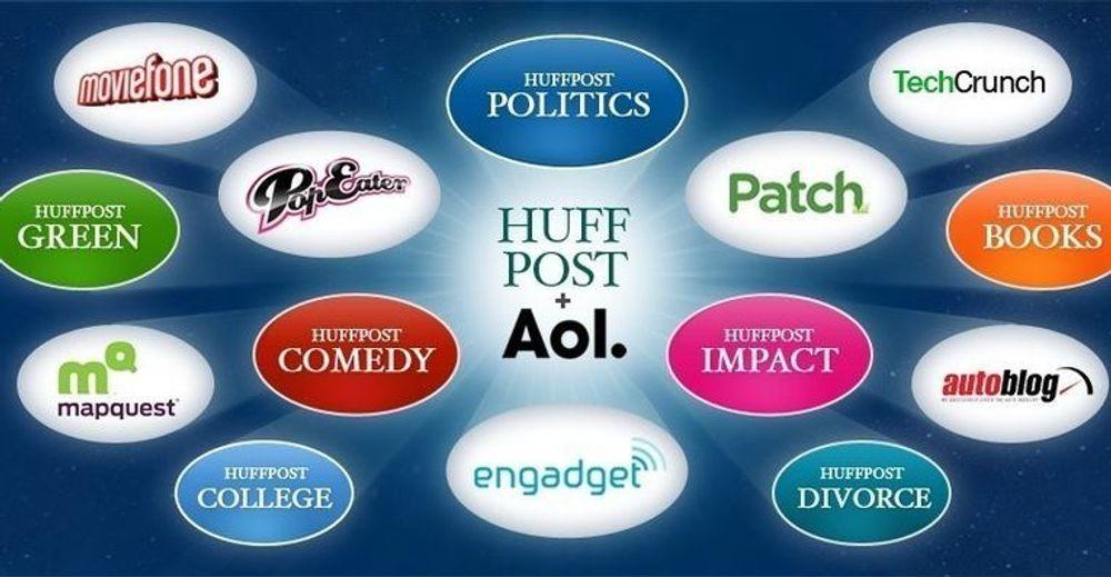 Kjøpet av Huffington Post tilfører AOLs innhold vesentlig ny bredde. Grafikken stammer fra Huffingtons Post eget oppslag.