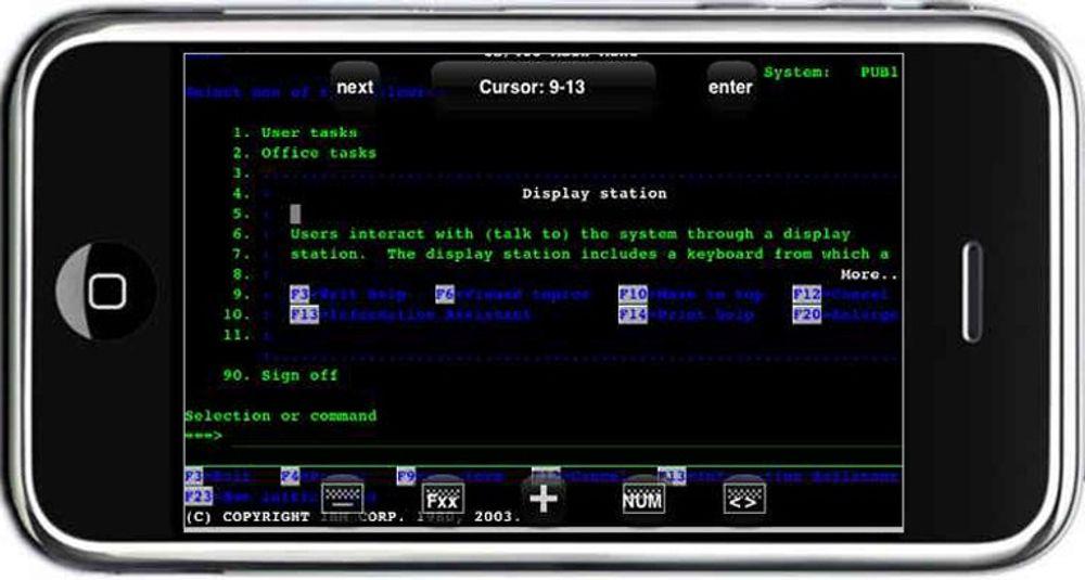 MochaSoft TN5250 gjør iPhone til terminal mot IBM iSeries.