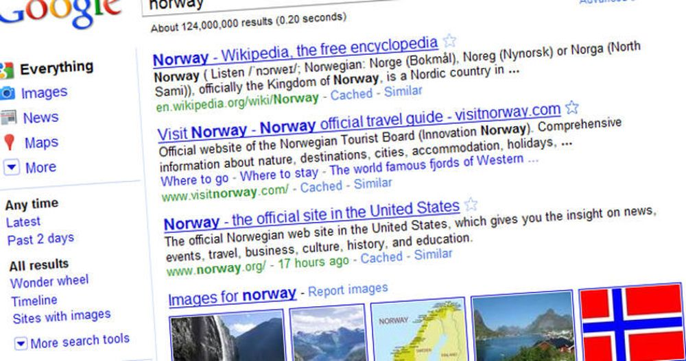 Fargerikt: Google gjør som konkurrenten Bing og innfører kontekstavhengige menyer på venstresiden.