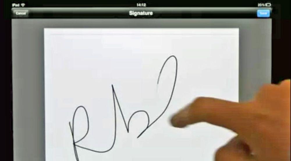 På nettbrett kan pdf-dokumenter signeres i Adobe Reader ved at man skriver navnetrekket sitt på skjermen med fingeren. På pc-er kan man bruke mus eller kopiere en innskannet underskrift. Tjenesten Adobe EchoSign formidler det underskrevne dokumentet sikkert tilbake til den som trenger det.