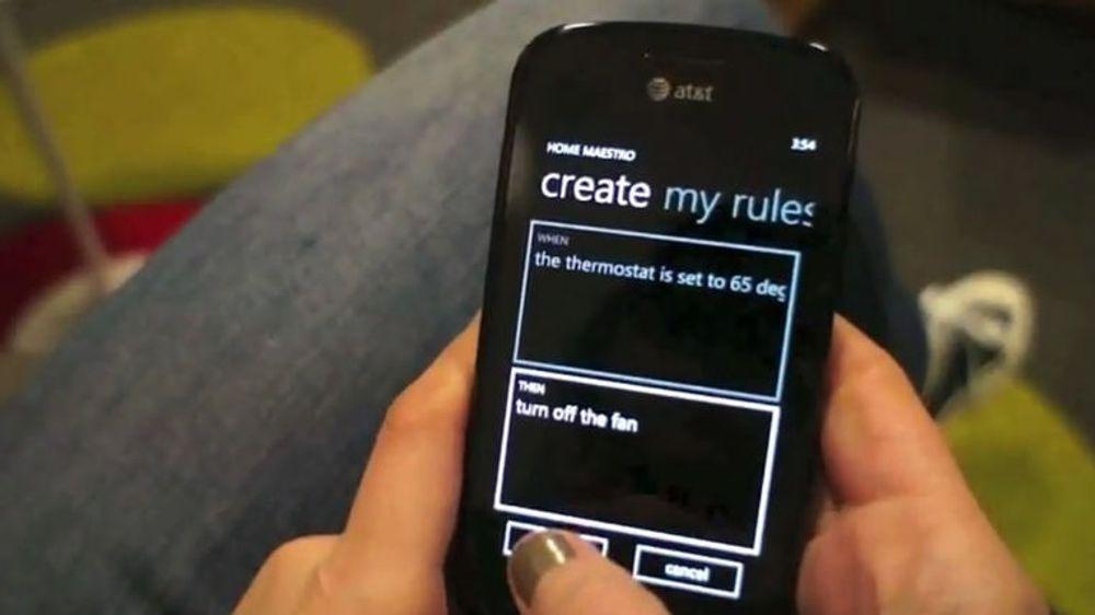 Mobilapplikasjonen HomeMaestro kan brukes til å lage regler for et hjemkontrollsystem basert på HomeOS.