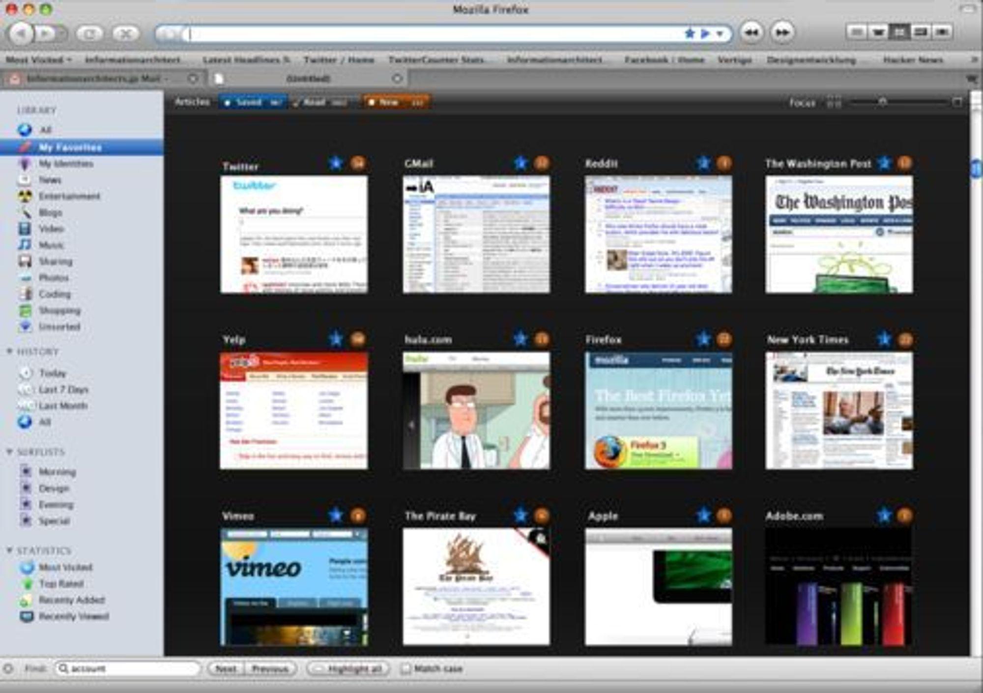 Firefox á la iTunes. Illustrasjon: Oliver Reichenstein