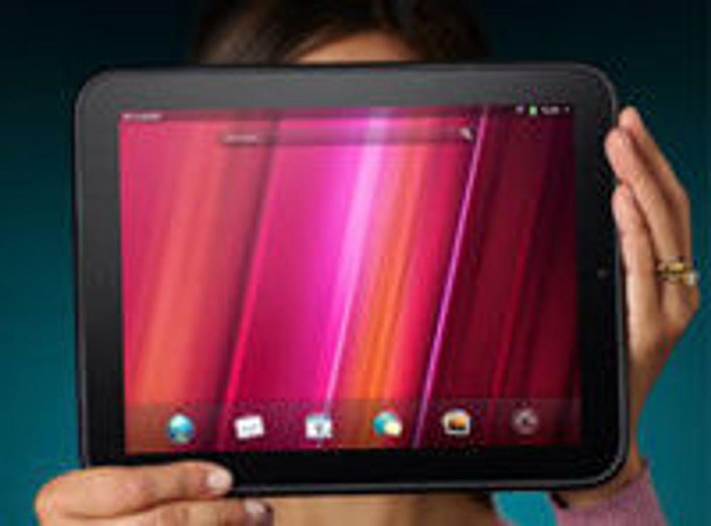 Touchpad har 10 tommers skjerm og leveres i to utgaver med hhv 16 og 32 gigabyte minne. HP har sitt eget operativsystem, WebOS.
