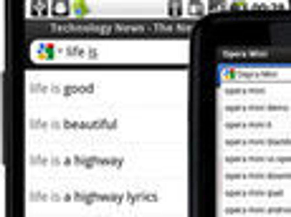 Opera Mobile 11.1 og Opera Mini 6.1 med søkeforslag fra Google.