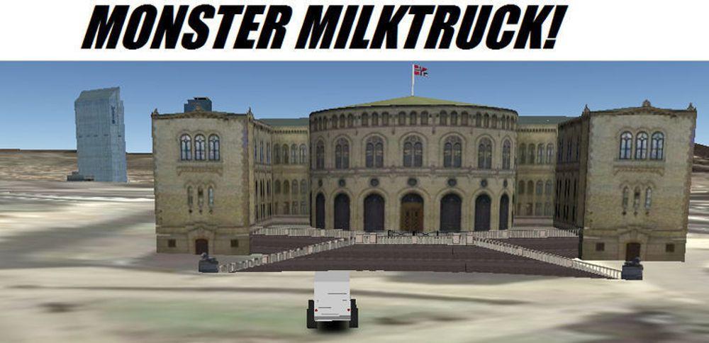 Monster Milktruck parkert foran Stortinget