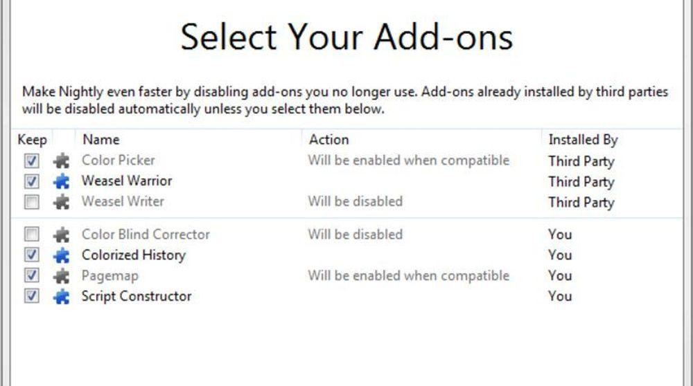 Så snart man har oppgradert til Firefox 8, blir man vist en dialog hvor man blir spurt om hvilke utvidelser som skal beholdes.