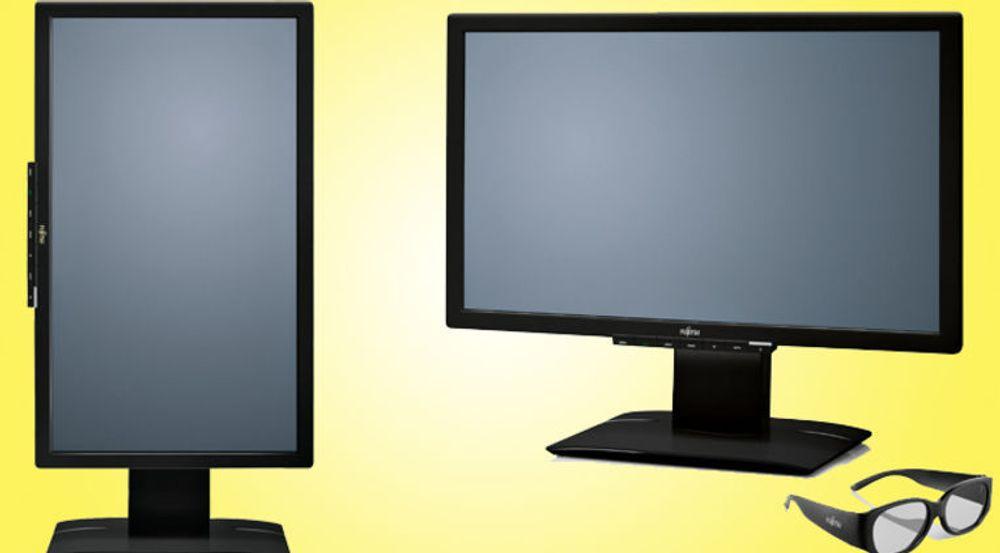 Skjermen kan også anvendes i portrettmodus. Brillene for å se 3D krever ikke batteri.