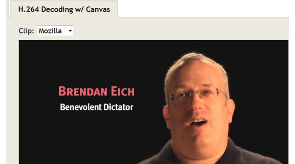 Avspilling av H.264-video med Broadway i Firefox. Avbildet er Brendan Eich, teknologisjef i Mozilla og skaperen av JavaScript.