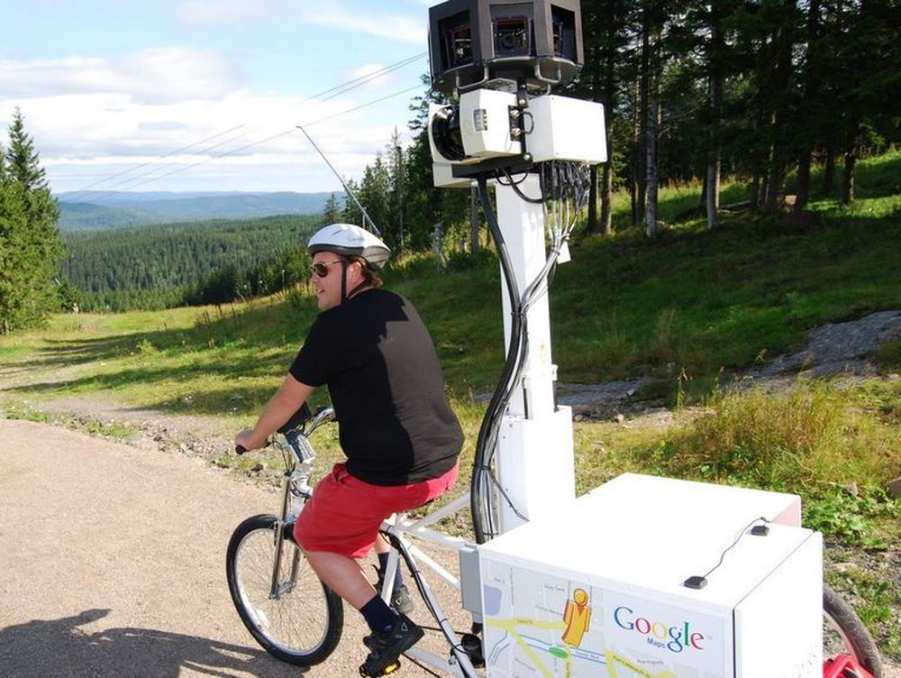Google brukte Street View-sykkelen i Nordmarka i Oslo i helgen.