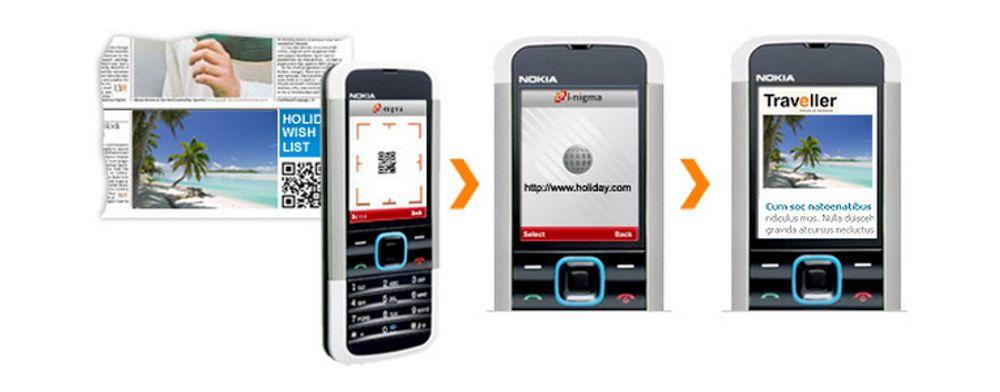 Annonsen inneholder en todimensjonal strekkode. Koden skannes av mobiltelefonen og åpner en nettside.