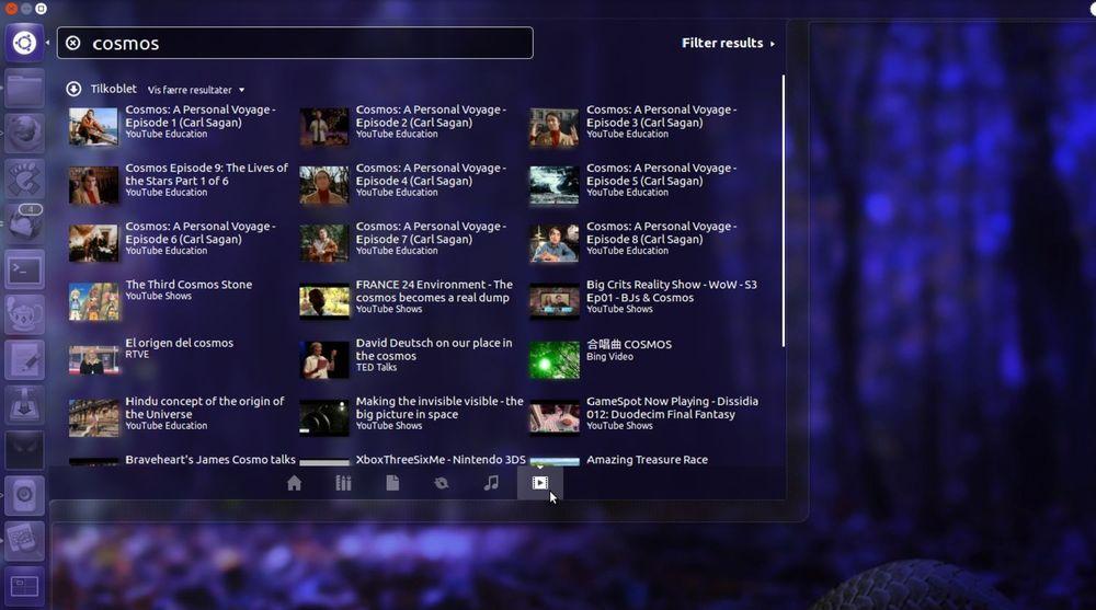 Ubuntu 12.04LTS skal gis ut i april. Bildet viser at innhold fra Internett er direkte tilgjengelig fra «Dash», en slags startmeny i Ubuntu. I dette tilfellet vises innhold fra YouTube Education, TED Talks, YouTube Shows, RTVE og Bing Video. Mange andre er tilgjengelig, ifølge Jo-Erlend Schinstad i Ubuntu Norge. Senere skal også NRK komme på plass. Man kan installere såkalte «linser» for alt mulig.
