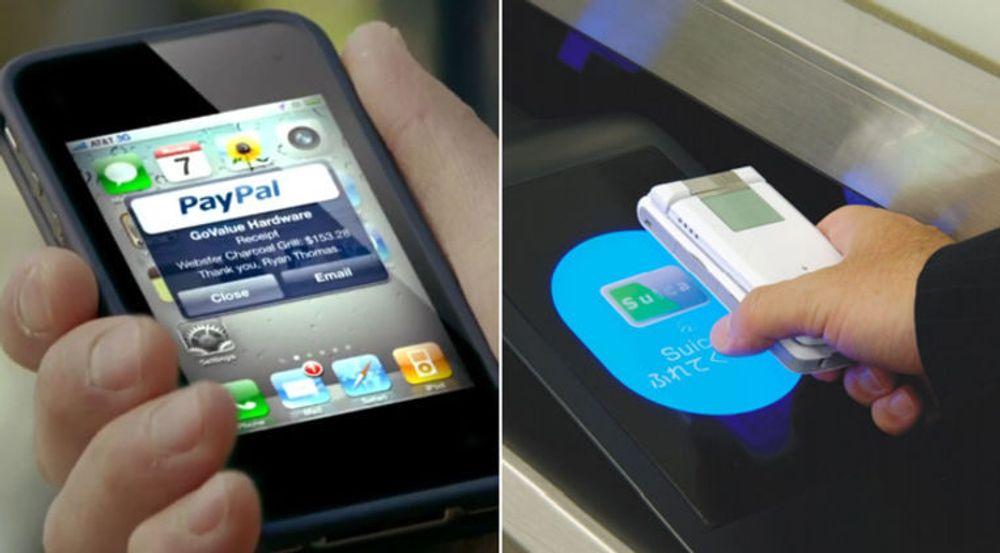Paypal vil ordne mobil betaling gjennom en app og nettskyen, mens Nokia og Google støtter NFC. Apple har ikke valgt side.