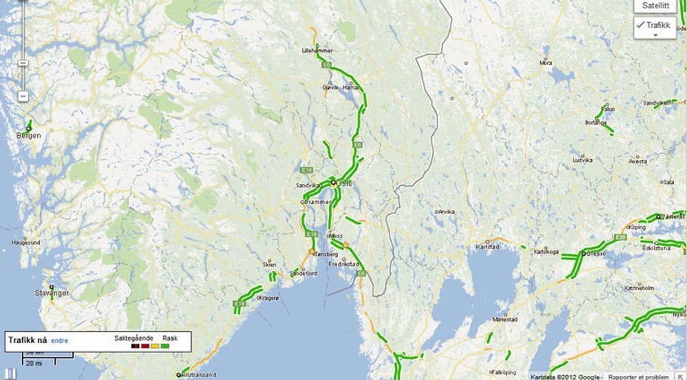 Visningen av trafikksituasjonen avhenger tilsynelatende av at det faktisk er en del trafikk på de aktuelle veiene. I Norge er det så langt bare motorveiene på Østlandet, samt enkelte veier omkring de største byene som er med.
