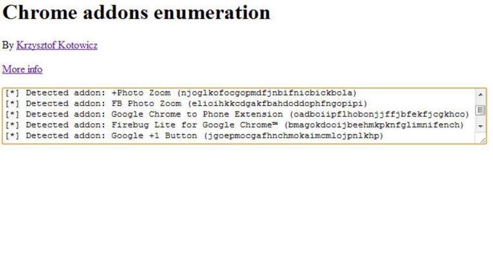 Detektering av Chrome-utvidelser via webside med metoden til .Krzysztof Kotowicz