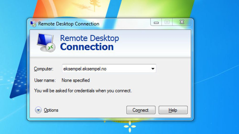Remote Desktop Connection brukes til fjernstyring av Windows-maskiner.