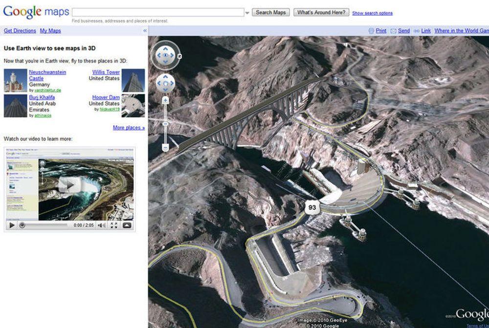 Hoover-dammen sett med i Google Earth View.