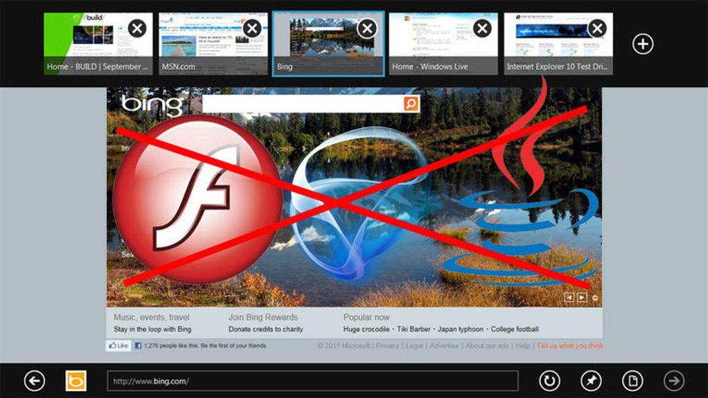 Ingen plugins i Metro-utgaven av Internet Explorer 10.