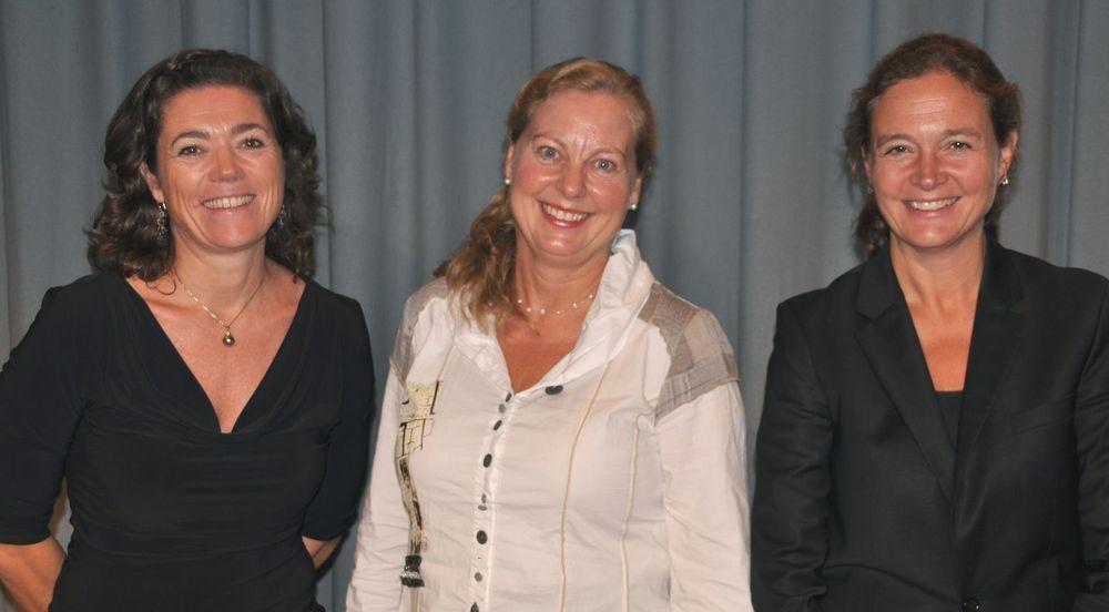 Kristin Skogen Lund (t.v), Berit Svendsen og Hilde Tonne har alle fått nye oppgaver i Telenor.