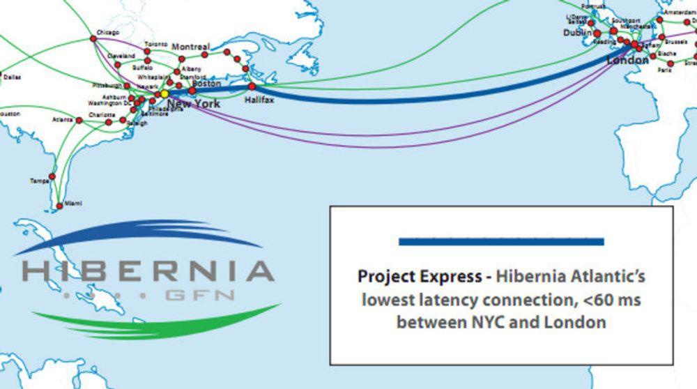 Strekningen hvor Hibernias transatlantiske ekspresskabel skal legges.