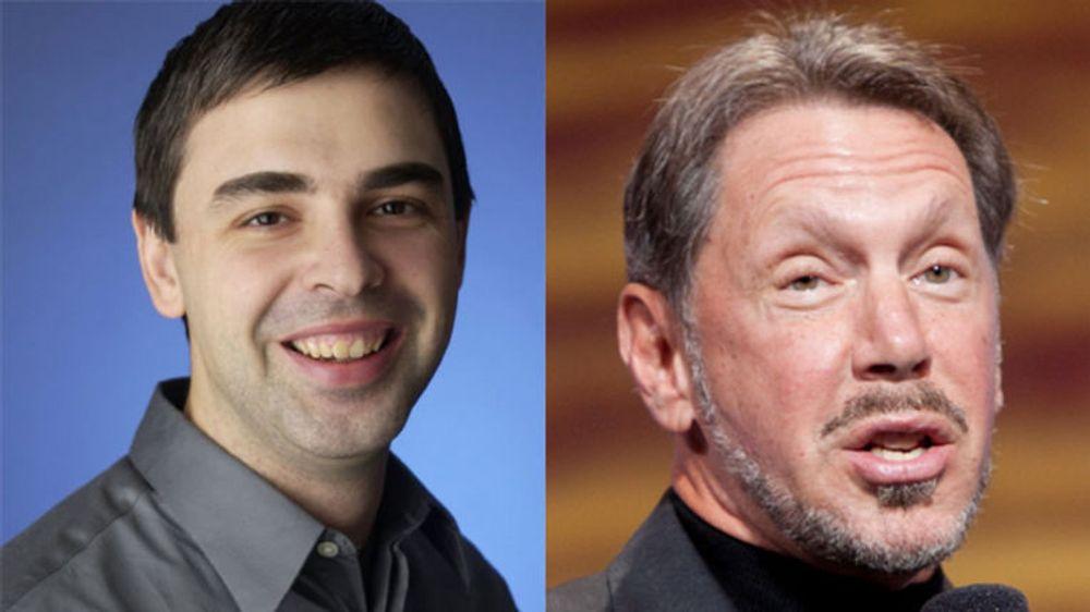 Toppsjefer for hver sin IT-gigant: Larry Page i Google og Larry Ellison i Oracle skal møtes i forlikssamtaler.