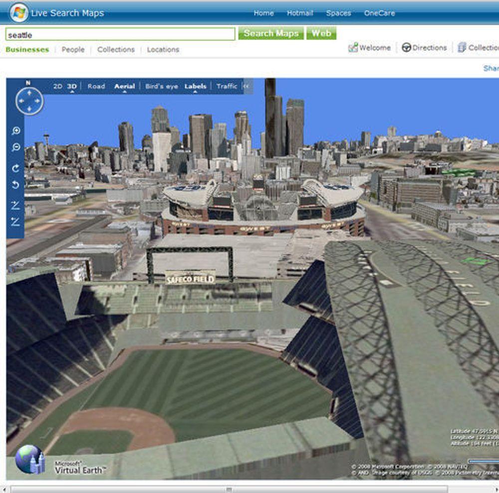 Live Maps og Virtual Earth 3D med bilder fra Seattle.