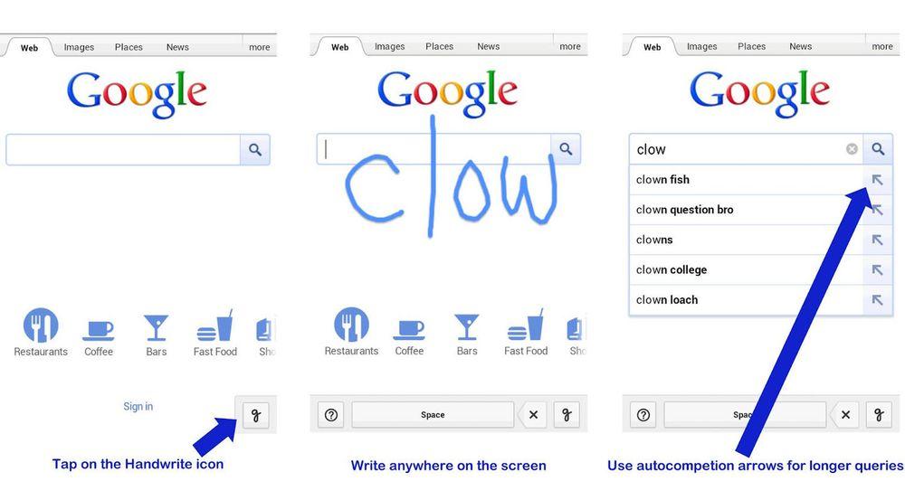 Google Handwrite kan gjøre det enklere å søke når man befinner seg i litt fysisk ustabile omgivelser.