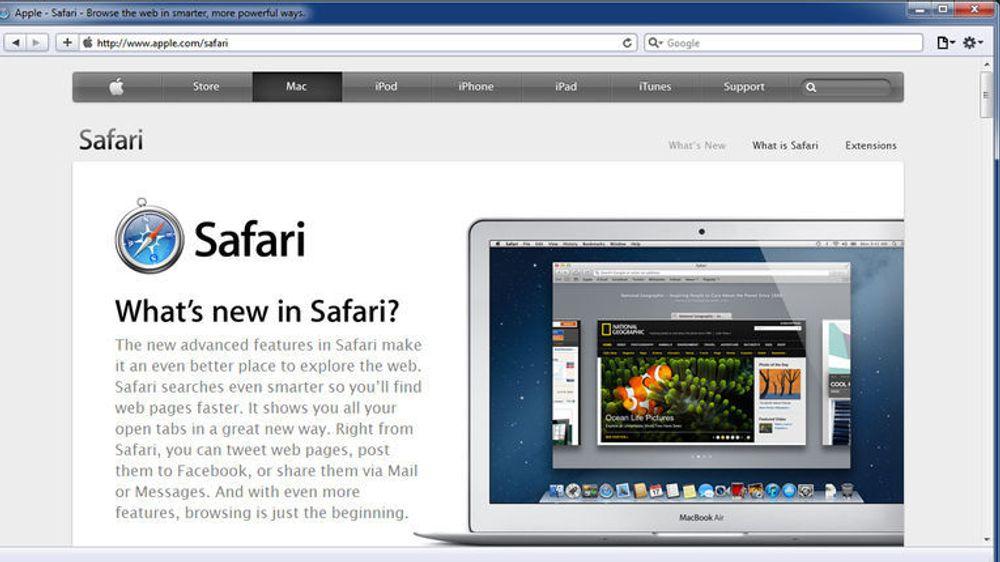 Apples webside for Safari, her vist i Safari 5.1.7 for Windows, har ikke lenger noen nedlastingslenker til noe Windows-versjon av nettleseren.