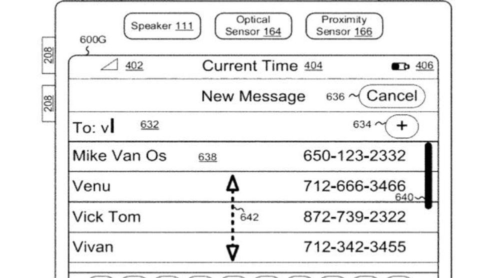 Patentet handler om den vertikale markøren eller feltet som er gjengitt på høyre side av listen som vises i illustrasjonen i Apples patent.
