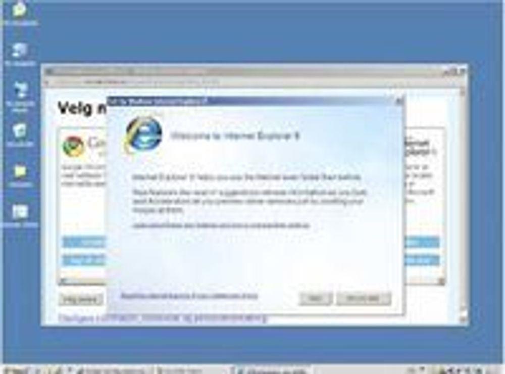 Opera liker dårlig at nettleservalget delvis skjules bak ti skjermvalg med konfigurering av Internet Explorer.