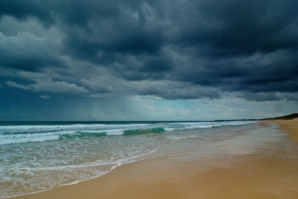 Heavy Clouds ahead of a Storm on a Beach