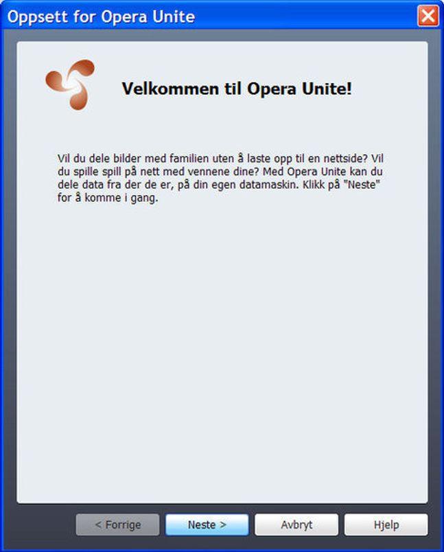 Inngangen til Opera Unite i Opera 10 beta.