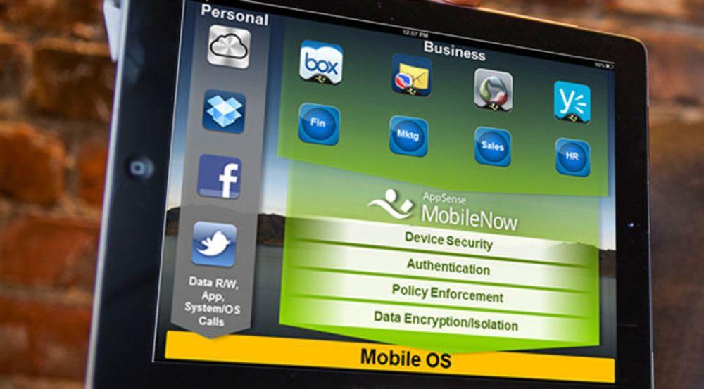 MobileNow på iPad: Den grunnleggende ideen er å skille mellom private og jobbapplikasjoner, og utstyre jobbapplikasjoner med sentralstyrt sikkerhet.