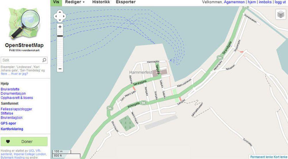 Slik ser Hammerfest ut i OpenStreetMap. Er det noe som ikke stemmer, eller er det detaljer som kan legges til? Kanskje du selv kan bidra til at kartet blir enda litt bedre?