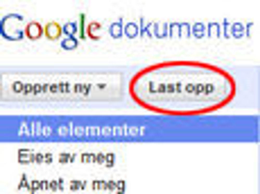 Åpner for fildeling i Google Docs