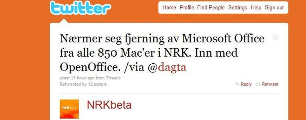 Mac-maskinene på NRK brukes i stor grad som produksjonsmaskiner med Final Cut. Disse skal få ny OpenOffice, men også vanlige kontormaskiner skal bytte vekk fra Microsoft Office, etter det digi.no kjenner til.