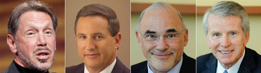 Et Oracle-bud på HP vil skjerpe konflikten mellom mektige menn: (fra venstre) Oracle-sjef Larry Ellison sjokkerte HP da han nektet å videreføre Itanium etter å ha kjøpt HPs erkerival Sun og gitt en toppjobb til HPs oppsagte toppsjef Mark Hurd, som fortsatt bærer nag til HP-styret. HP-sjef Leo Apotheker som tok over etter Hurd kommer fra Oracles erkerival SAP innen bedriftsprogramvare. HPs styreleder Ray Lane var nestkommanderende i Oracle og sluttet nærmest i protest mot Ellison.