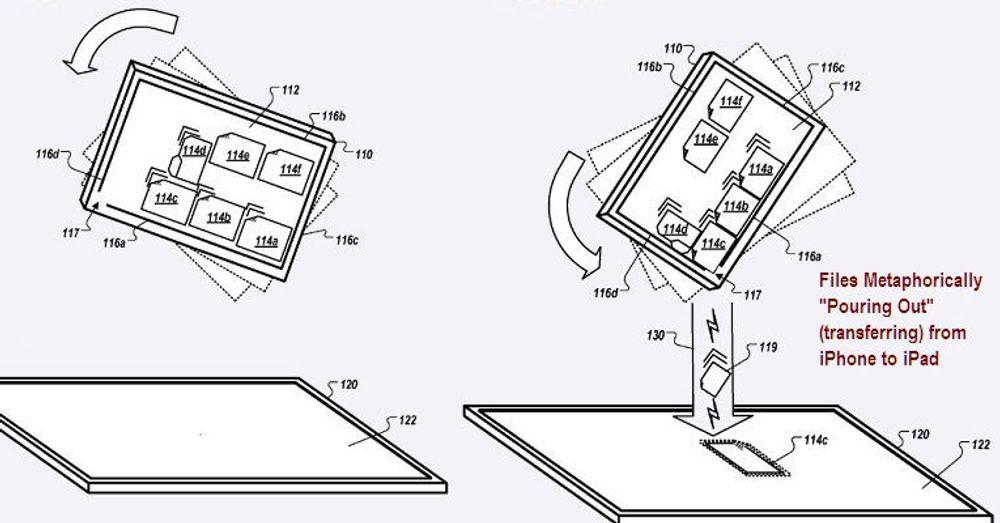Intuitivt: Slik ser Apple for seg at filer kan overføres mellom to enheter.