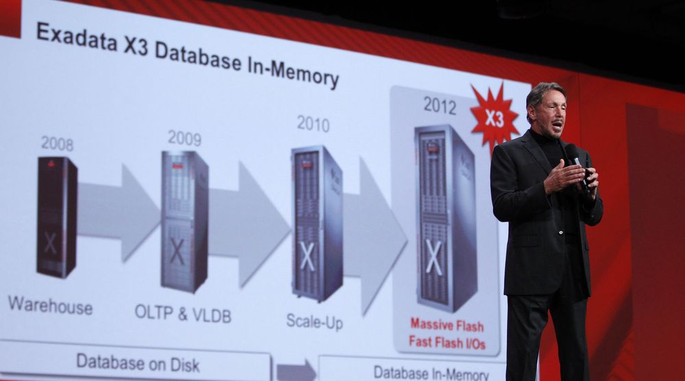 Larry Ellison presenterte Exadata X3 under hovedtalen på Oracle Openworld. Den dedikerte databasemaskinen ligger til grunn for Oracles satsing på maskinvare til nettskytjenester.