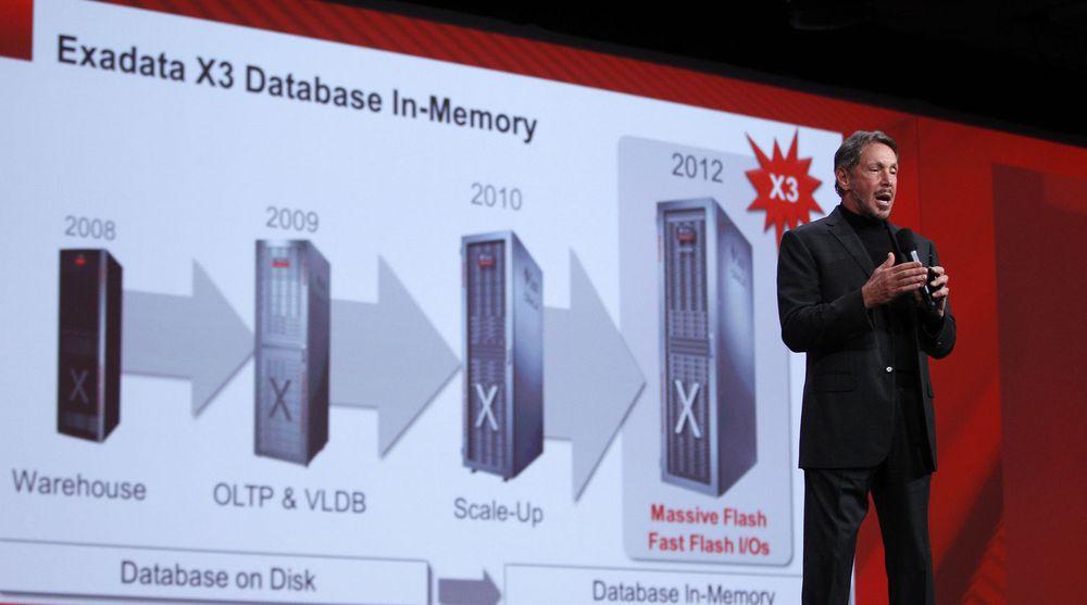 Larry Ellison presenterte Exadata X3 under hovedtalen på Oracle Openworld. Den dedikerte databasemaskinen ligger til grunn for Oracles satsing på maskinvare til nettskytjenester.