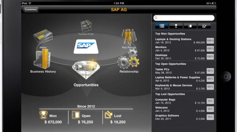 En av SAPs nye apper for nettbrett (her iPad) er «Customer Briefing». Appen henter kundeopplysninger fra flere kilder, og sammenstiller dem i et oversiktlig grensesnitt.