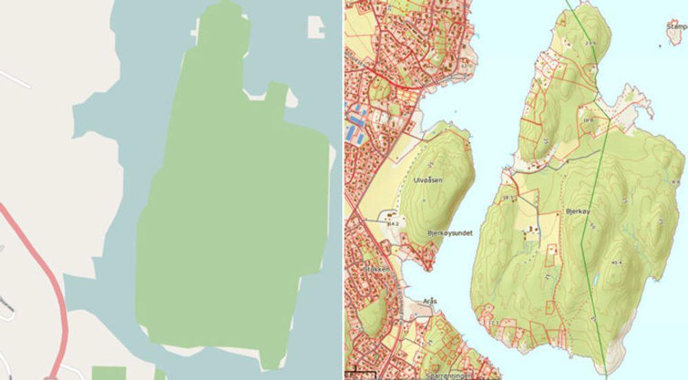 Bjerkøy i Vestfold-skjærgården utenfor Nøtterøy, fra hhv OpenStreetmap.no og Norgeskart.no. Dugnadsprosjektet OpenStreetmap tar sikte på å tilby så gode gratiskart som mulig. Det er langt igjen før de når samme kvalitet som Norgeskart, som har tilgang til kartene som Norge lovprises for av EuroGeographics. Disse kartene styres av Norge digitalt, og er ikke fritt tilgjengelig.