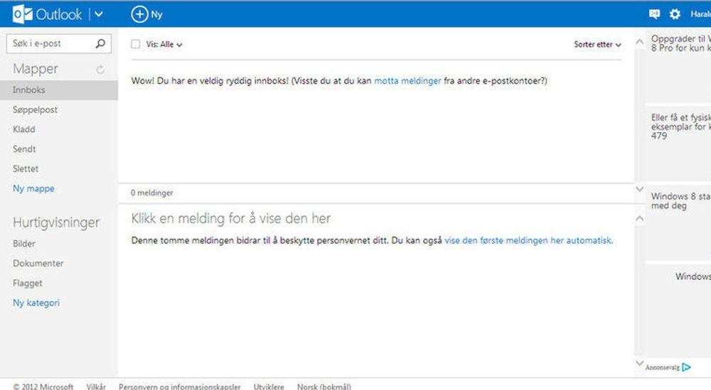 Brukergrensesnittet til Outlook.com er enkelt og ryddig,i alle fall når man har ryddet skikkelig i innboksen. Feltene til høyre er testannonser.