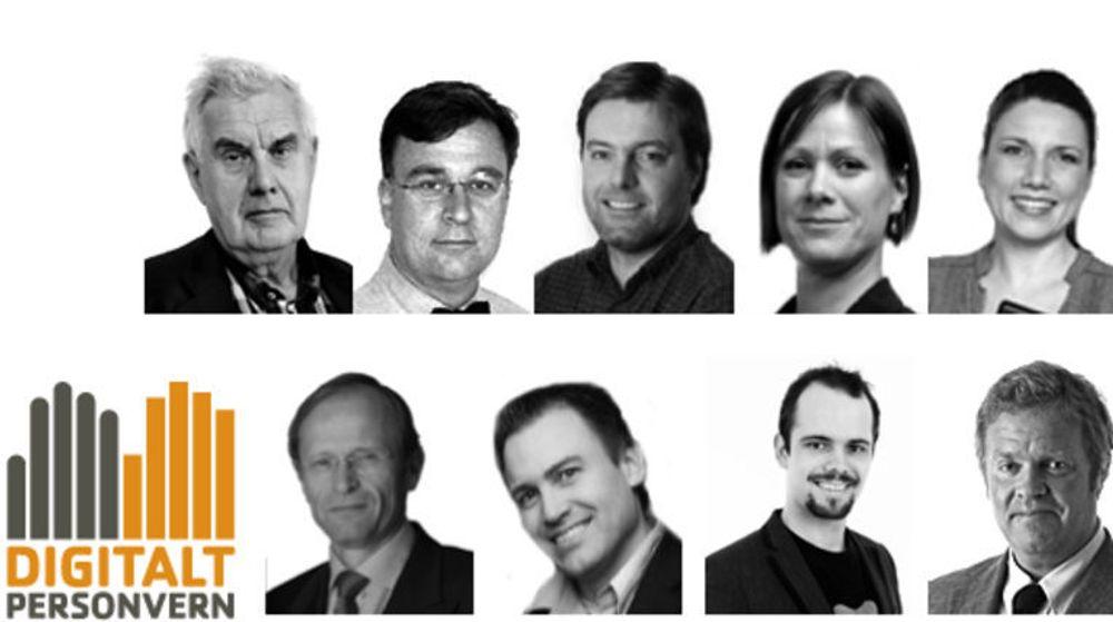 Digital Personvern ved leder (øverst fra v.) Georg Apenes, Espen Andersen, Anders Brenna, Hanna E. Marcussen, Heidi Nordby Lunde. (Under fra v.): Halvor Stenstadvold, Fredrik Øvergård, Christoffer Torris Olsen (generalsekretær) og tilknyttet advokat Jon Wessel-Aas.