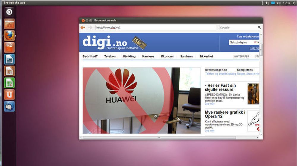 Ubuntu 11.10 slik det vises i den nettleserbasert demoutgaven