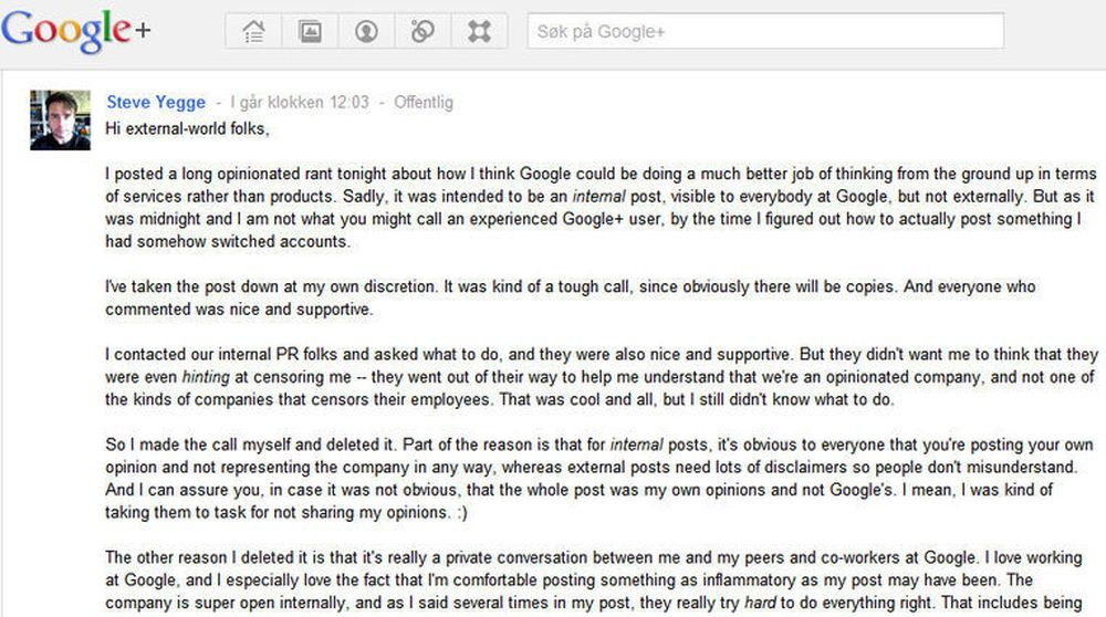 Faksimile av Steve Yegges forklaring på hva som egentlig skjedde.
