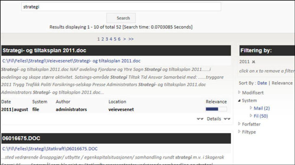Eksempel på treffliste med IntelliSearch for EPiServer. Ideen er at det skal bli like givende å søke i EPiServer som å google på nettet.