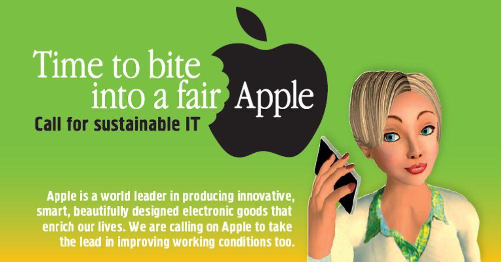 Detalj fra kampanjeplakaten til Make IT Fair. Hensikten er å få Apple til å gi også produksjonsarbeiderne i Kina en rettmessig bit av eplet.